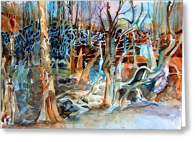 Haunted Forest Greeting Cards - Haunted Swampland Greeting Card by Mindy Newman