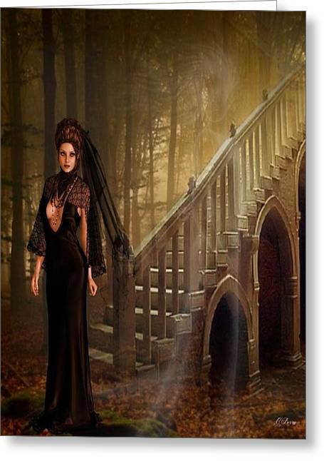 Black Widow Greeting Cards - Haunted Widow  Greeting Card by G Berry