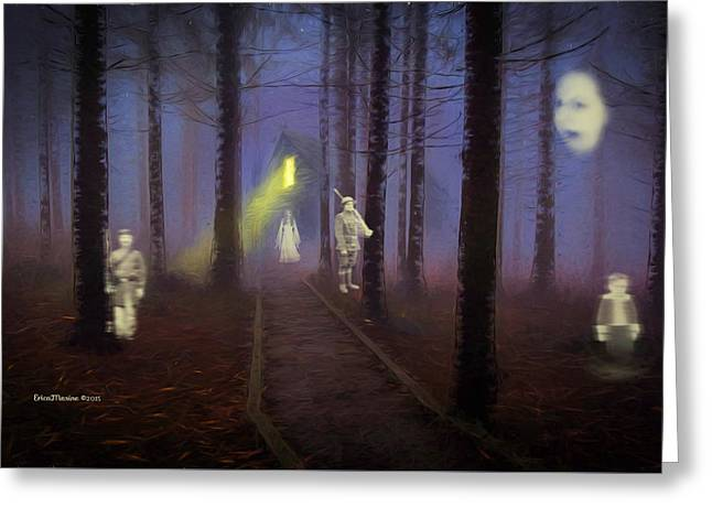 Apparel Greeting Cards - Haunting in the Woods Greeting Card by EricaMaxine  Price