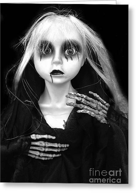 Haunting Spooky Scary Female Skeleton - Halloween Female Spooky Eye Skeleton Decor Greeting Card by Kathy Fornal