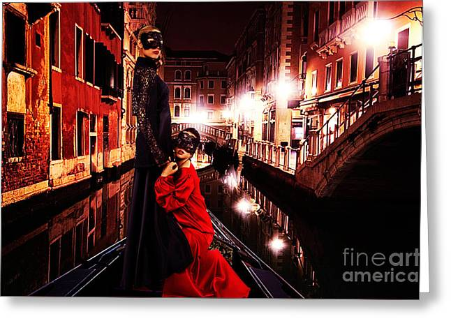 Pensive Greeting Cards - Haute Couture Venice Greeting Card by Milan Karadzic