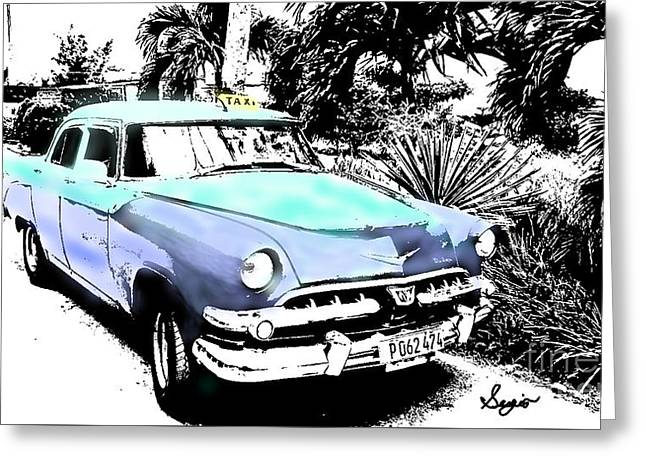 Coffee Drinking Greeting Cards - Havana Blues Greeting Card by Sergio B