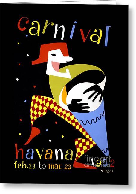 Historical Images Greeting Cards - Havana Carnival Vintage Travel Poster Greeting Card by Carsten Reisinger