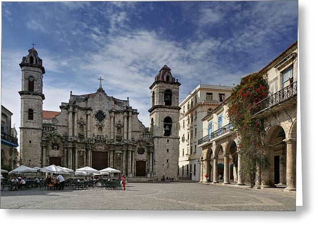 Editorial Greeting Cards - Havana Cathedral. Cuba Greeting Card by Juan Carlos Ferro Duque