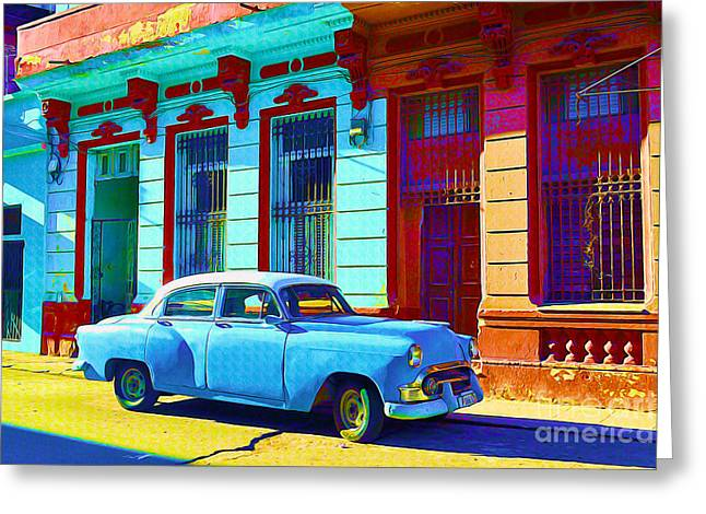 Old Door Mixed Media Greeting Cards - Havana Classic Car Greeting Card by Chris Andruskiewicz