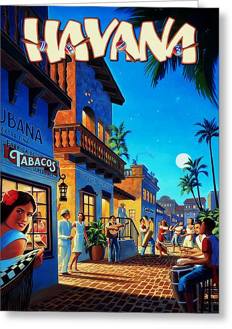 Havana Cuba Greeting Card by Mark Rogan
