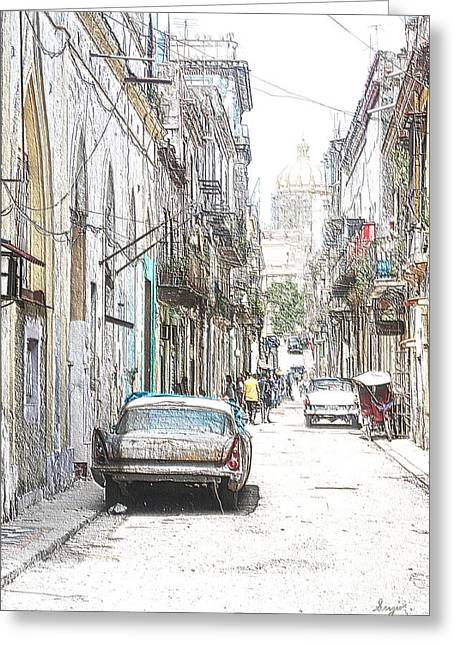 Coffee Drinking Greeting Cards - Habana Streets 2  Greeting Card by Sergio B
