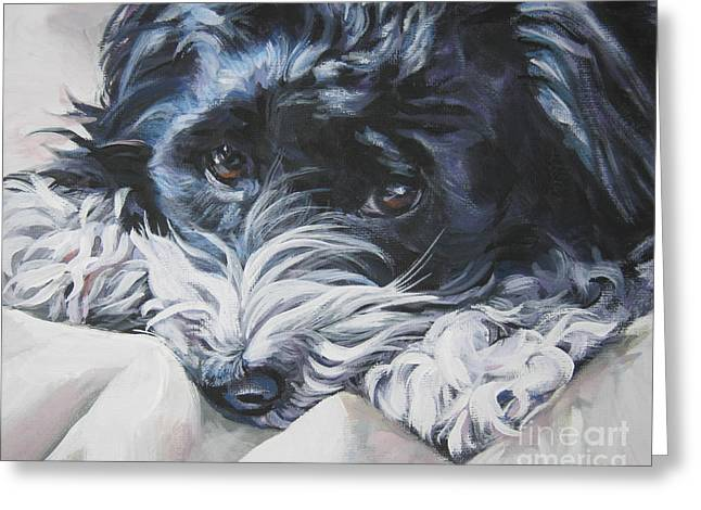 Puppies Paintings Greeting Cards - Havanese black and white Greeting Card by Lee Ann Shepard