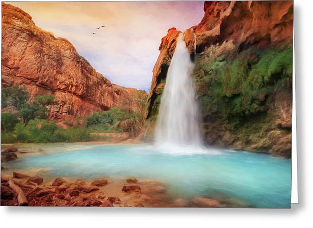 National Park Mixed Media Greeting Cards - Havasu Falls Greeting Card by Lori Deiter