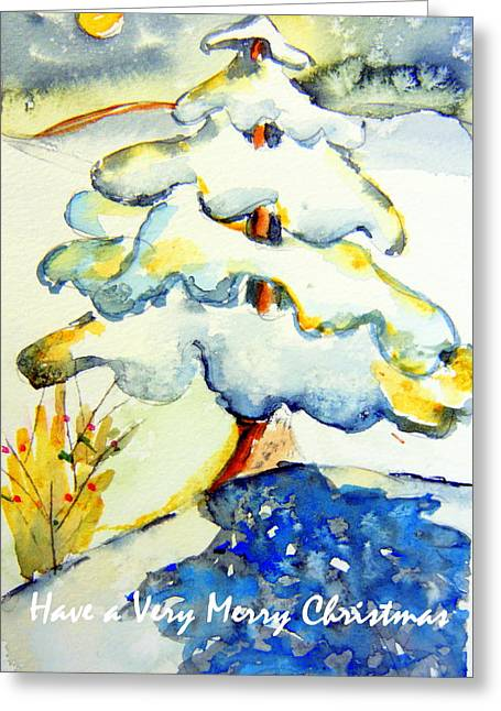 Winter Night Drawings Greeting Cards - Have a Merry Christmas Greeting Card by Mindy Newman