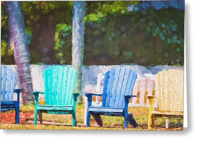 Lawn Chair Greeting Cards - Have a Seat Greeting Card by Ann Flugge
