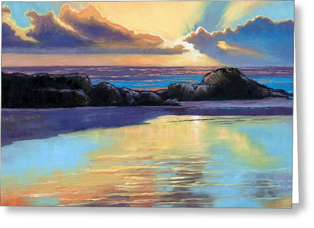 Beaches Of Norway Greeting Cards - Havik Beach Sunset Greeting Card by Janet King
