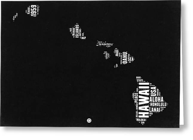 Hawaii Black And White Map Greeting Card by Naxart Studio