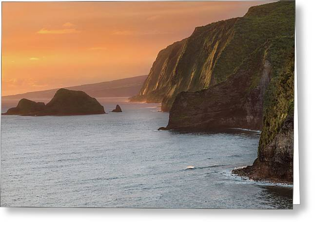 Hawaii Sunrise At The Pololu Valley Lookout 2 Greeting Card by Larry Marshall