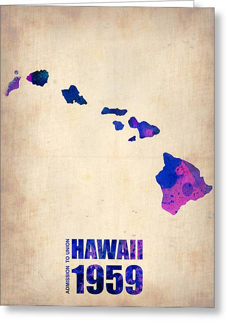 Maps. State Map Greeting Cards - Hawaii Watercolor Map Greeting Card by Naxart Studio