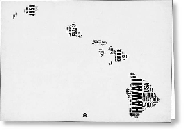 Hawaii Word Cloud 2 Greeting Card by Naxart Studio