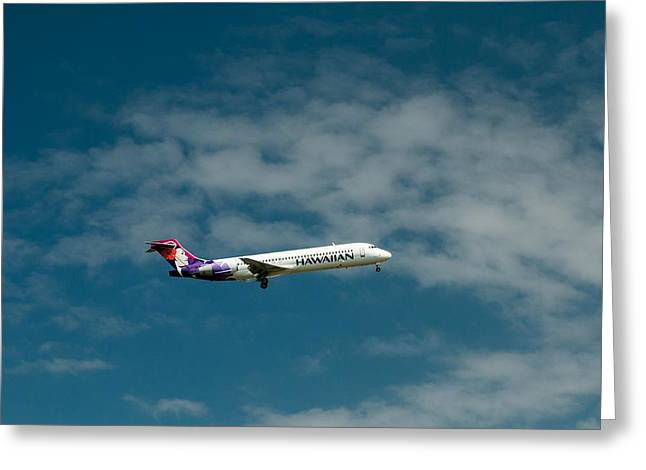 Hickam Greeting Cards - Hawaiian Airlines Inbound Greeting Card by E Faithe Lester