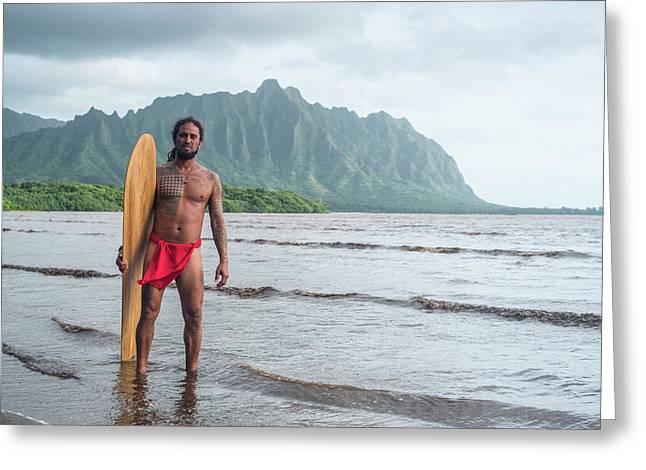 Hawaiian Alaia Surfer Greeting Card by Sean Davey