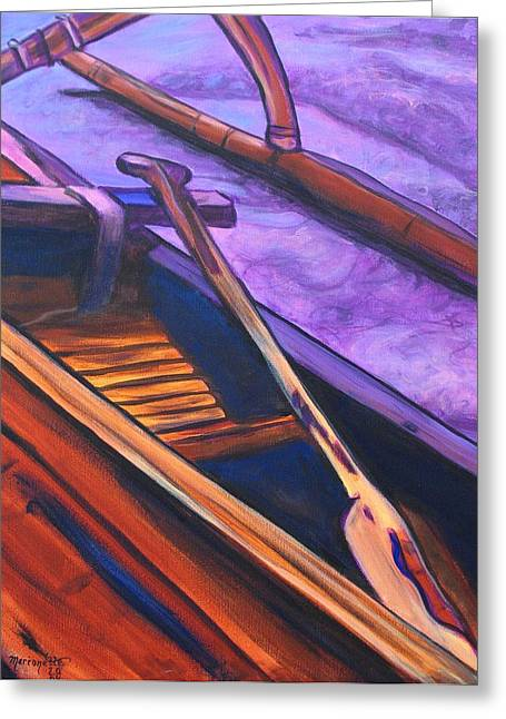 Sienna Greeting Cards - Hawaiian Canoe Greeting Card by Marionette Taboniar