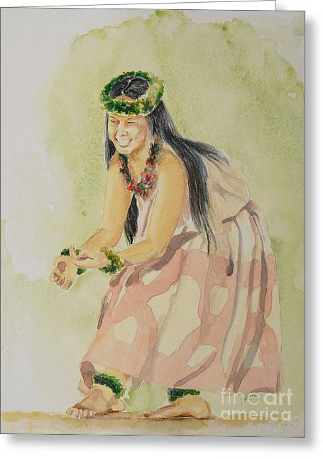 Lei Greeting Cards - Hawaiian Dancer Greeting Card by Gretchen Bjornson