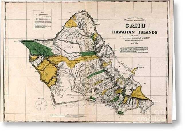 Vintage Map Photographs Greeting Cards - Hawaiian  Islands Map 1881 Greeting Card by Jon Neidert