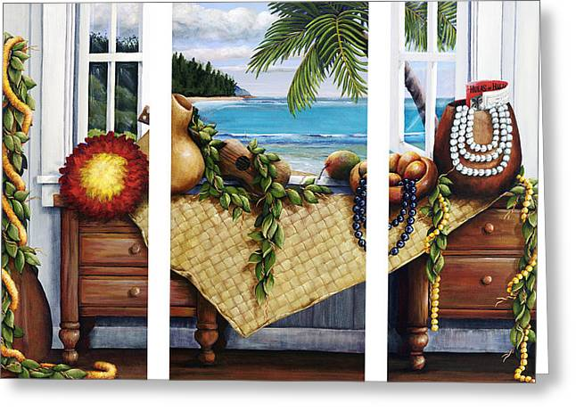 Indoor Still Life Paintings Greeting Cards - Hawaiian Still Life with Haleiwa on My Mind Greeting Card by Sandra Blazel - Printscapes
