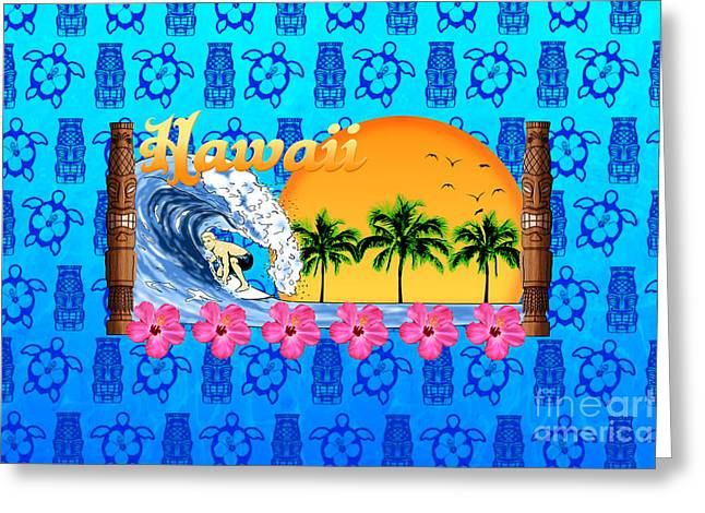 Hawaiin Greeting Cards - Hawaiian Surfing And Tiki Masks Greeting Card by Chris MacDonald