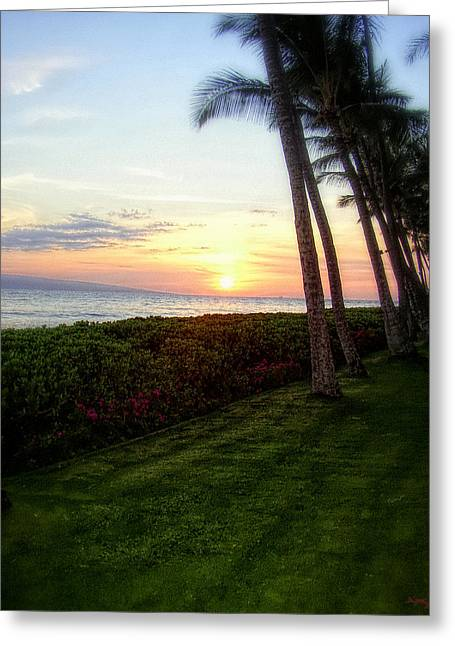 Vacation Spots Greeting Cards - Hawaiian Tropical Sunset Greeting Card by Glenn McCarthy