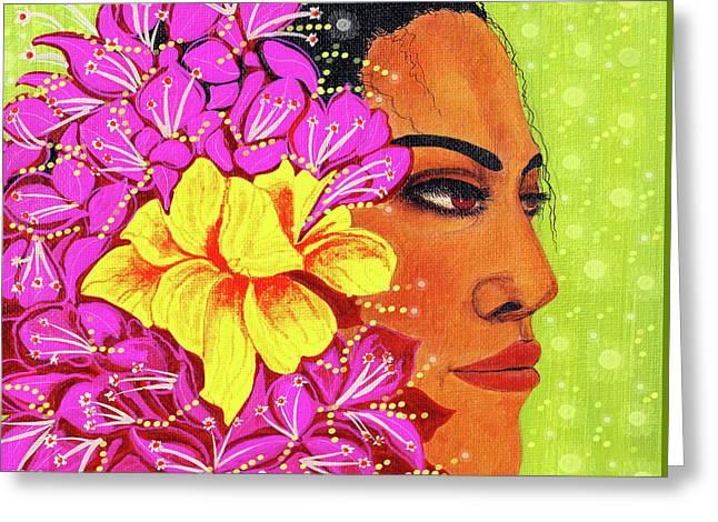 Debbie Chamberlin Greeting Cards - Hawaiian woman portrait Greeting Card by Debbie Chamberlin