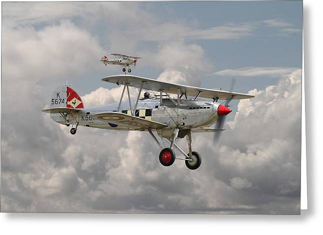 Golden Age Greeting Cards - Hawker Fury Greeting Card by Pat Speirs