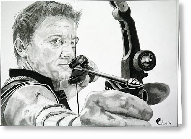 Jeremy Renner Greeting Cards - Hawkeye Greeting Card by Robert Link