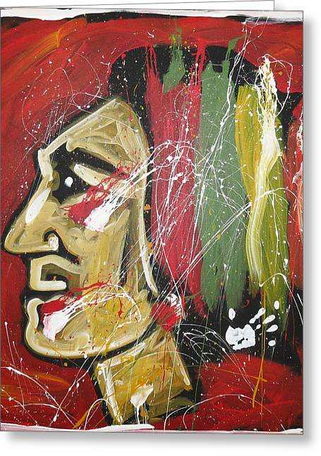 Hockey Paintings Greeting Cards - Hawks Greeting Card by Elliott From