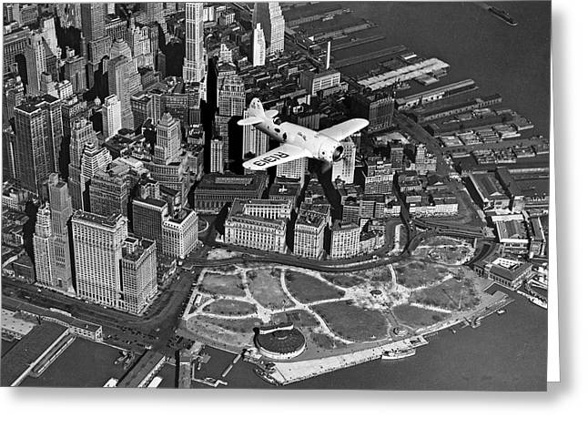 Hawk's Plane Over Battery Park Greeting Card by Underwood Archives