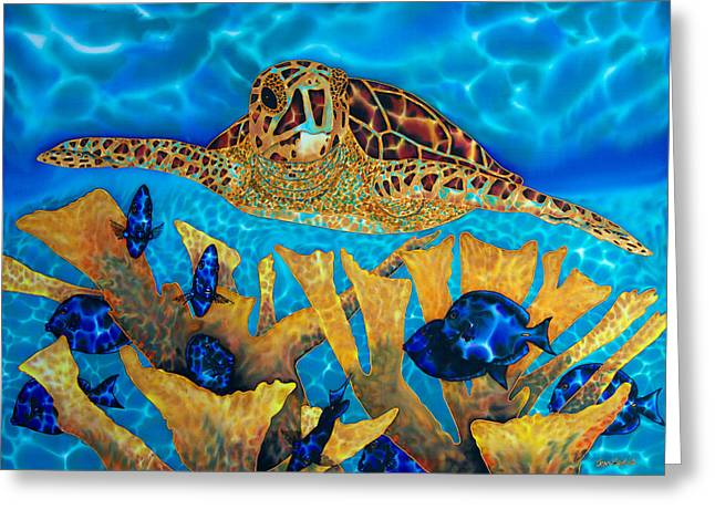 Tang Tapestries - Textiles Greeting Cards - Hawksbill Sea  Turtle Greeting Card by Daniel Jean-Baptiste