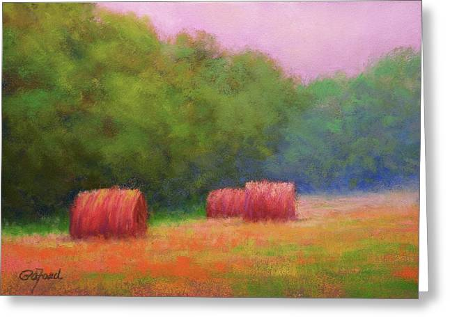 Bale Pastels Greeting Cards - Hay Bales and Thunder Greeting Card by Paula Ann Ford