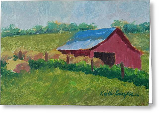Hay Bales Greeting Cards - Hay Bales In Morning Light Greeting Card by Keith Burgess