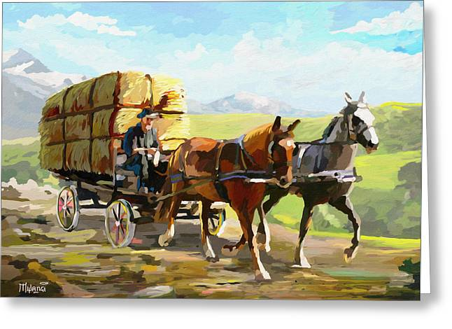 Hayloft Greeting Cards - Hay delivery Man Greeting Card by Anthony Mwangi