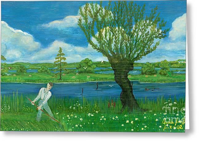 Willow Lake Greeting Cards - Hay-making Greeting Card by Anna Folkartanna Maciejewska-Dyba