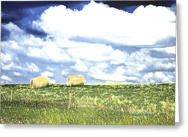 Hay Mixed Media Greeting Cards - Hayfield Greeting Card by Lenore Senior and Tracy F