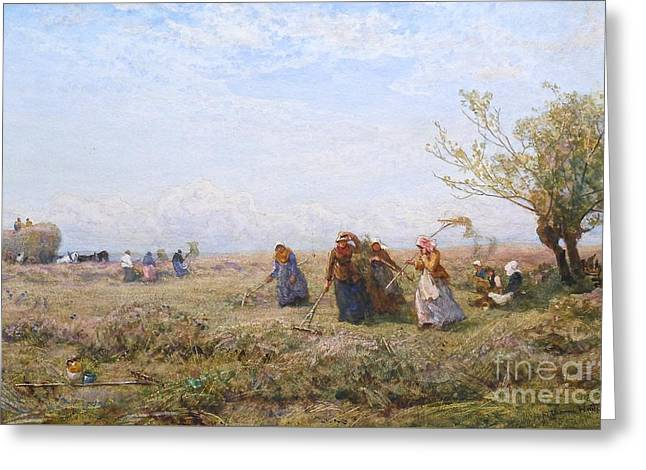 Haymaking At Amberley Greeting Card by Robert Thorne