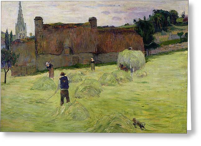 Bales Paintings Greeting Cards - Haymaking in Brittany Greeting Card by Paul Gauguin