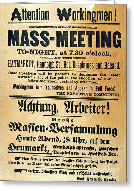 Protesters Greeting Cards - Haymarket Handbill, 1886 Greeting Card by Granger