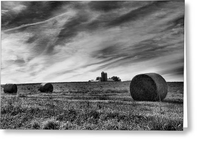 Barn Landscape Photographs Greeting Cards - Hayrolls and Field Greeting Card by Steven Ainsworth