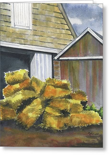 Bales Paintings Greeting Cards - Haystack Greeting Card by Marsha Elliott