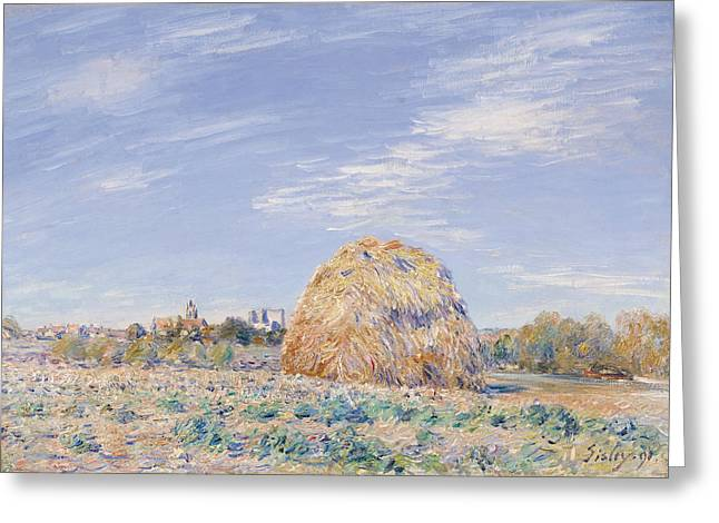 On The Banks Greeting Cards - Haystack on the Banks of the Loing Greeting Card by Alfred Sisley