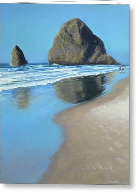 Oregon Pastels Greeting Cards - Haystack Rock Greeting Card by LaDonna Kruger