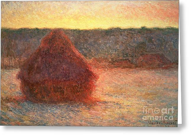 Haystacks At Sunset Greeting Card by Claude Monet