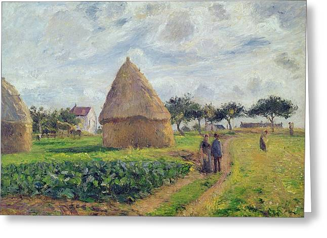 Walking Paths Greeting Cards - Haystacks Greeting Card by Camille Pissarro
