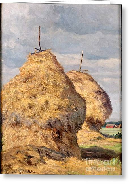 Charlotte Greeting Cards - Haystacks Greeting Card by Celestial Images