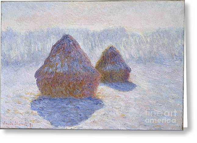 Vintage Painter Greeting Cards - Haystacks - Effect of Snow and Sun Greeting Card by Claude Monet